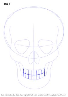 Learn How to Draw Skull Easy (Skulls) Step by Step : Drawing Tutorials Skeleton Head Drawing, Easy Skull Drawings, Scary Drawings, Human Drawing, Learn Drawing, Scary Things To Draw, Simple Skull, Skull Sketch, Easy Drawings For Beginners