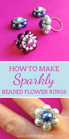 How to make a beautiful beaded flower statement ring, using glass pearls beads and rhinestone cupchain! Jewellery-making tutorial on Craftaholique.