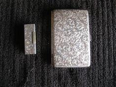 ANTIQUE ENGRAVED STERLING CIGARETTE CASE & LIGHTER +++ GREAT BUY