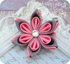 Pink and Gray Kanzashi Flower Hair Clip