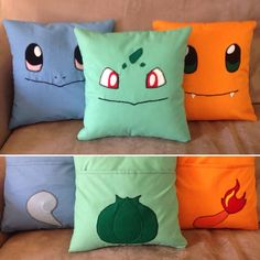 Pokemon starter pillows are an easy DIY for gifts. Pokemon starter pillows are an easy DIY for gifts. Pokemon Gifts, Pokemon Craft, Pokemon Decor, Pokemon Room, Pokemon Fan, Pokemon Birthday, Pokemon Party, Geek Crafts, Fun Crafts