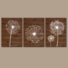 DANDELION Wall Art Wood Effect Bedroom Art Bathroom Artwork Bedroom Pictures Flower Wall Art Dandelion Set of 3 Home Canvas or Prints (28.00 USD) by TRMdesign