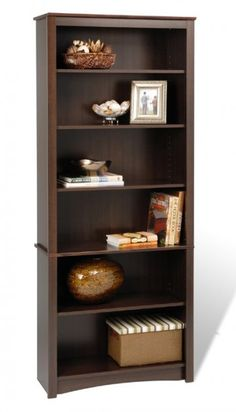 An attractive looking addition for your study, office, or living room. This deluxe bookcase can be individually arranged or grouped with others to create a library wall filled with books and collectibles. Notable enhancements include a profiled top, side moldings, an arched kick plate, and coordinated backer. This bookcase includes three adjustable shelves.