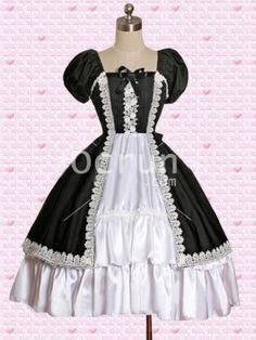 Klassiker Baumwolle Schwarz And Weiß Short Sleeves Gothic Lolita Kleid
