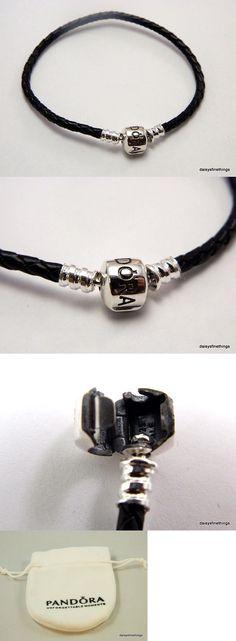 Charms and Charm Bracelets 140944: New Authentic Pandora Bracelet Single Braided Leather Black #590705Cbk-S2 19Cm -> BUY IT NOW ONLY: $31.95 on eBay!