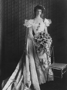 Eleanor Roosevelt in her wedding dress. She married her cousin Franklin Delano Roosevelt, and was given away by her uncle, then President Theodore Roosevelt.
