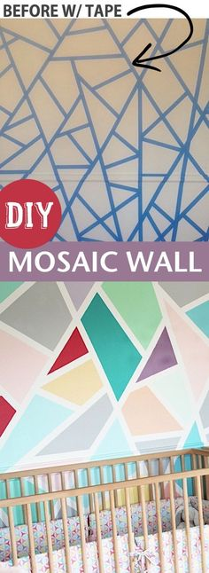 Easy DIY home decor idea for a bedroom: create a fun accent wall with painter's tape! This mosaic wall is easy enough for anyone to do! Super fun for a nursery or play room. Listotic.com #easyhomedecor