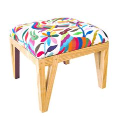 I love Otomi textiles but I don't own any. This handmade ottoman upholstered with a vibrantly colorful Otomi embroidery would be a per. Fabric Ottoman, Upholstered Ottoman, Pouf Rembourré, Furniture Decor, Furniture Design, Colorful Furniture, Furniture Arrangement, Modern Furniture, Headboard Cover