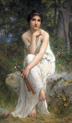 The Flute Player. Charles Amable Lenoir (French, Oil on canvas. Lenoir was a student at the Ecole Nationale Des Beaux Arts in Paris. He was a friend of William Bouguereau and one of his. William Adolphe Bouguereau, Classic Paintings, Beautiful Paintings, Romantic Paintings, European Paintings, Beautiful Images, Lenoir, Pre Raphaelite, Foto Art