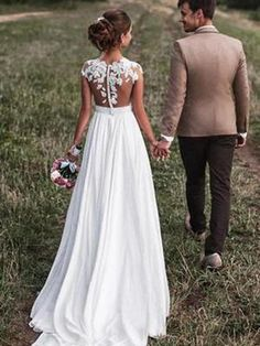 Lovely Off White Lace Appliques Cap Sleeves Long Chiffon Beach Wedding Dresses 2018 Wedding Dresses Lace, Ivory Wedding Dresses, Wedding Dresses White Wedding Dresses, Appliques Wedding Dresses Wedding Dresses 2018 Disney Wedding Dress, Cheap Wedding Dresses Uk, Boho Wedding Dress With Sleeves, Outdoor Wedding Dress, Wedding Dress Chiffon, Dress Lace, Chiffon Dresses, Flowy Wedding Dresses, Lace Chiffon