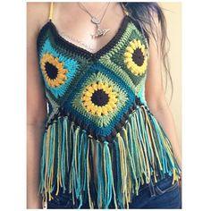 Sunflower Granny Square Festival Crochet Top with Fringe