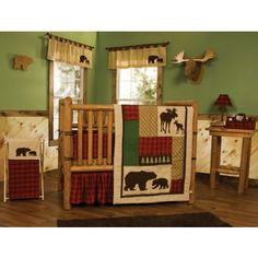 3PC Northwoods Bear Lodge Cabin Crib Bedding 110240 #cribbedding #dvhomedecor #nursery