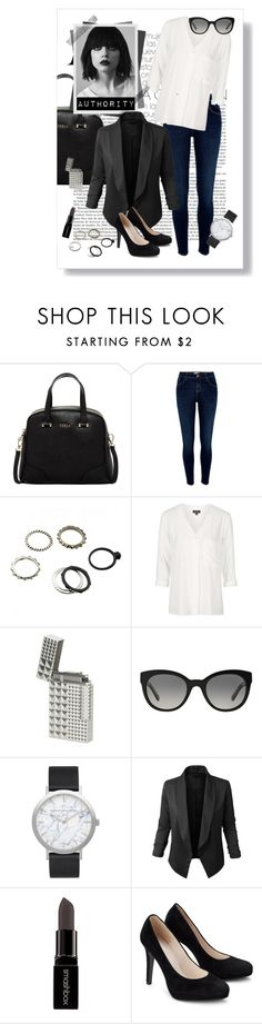 """""""Authority"""" by anule-pritulova ❤ liked on Polyvore featuring Furla, River Island, Topshop, Givenchy, Burberry, Elwood, LE3NO and Smashbox"""