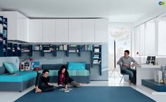Like the daybeds in a corner... Good idea for that teenage bedroom we'll need soon