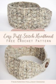 Easy Crochet Headband Ear Warmer Pattern This simple, and rustic crochet headband has endless possibilities! It features a stylish button closure in the back, and can be worn plain, or you can crochet a pretty flower to dress it up! Crochet Ear Warmer Pattern, Crochet Headband Pattern, Crochet Beanie, Easy Crochet Patterns, Crochet Ear Warmers, Knit Headband, Knitting Patterns, Crochet Simple, Quick Crochet