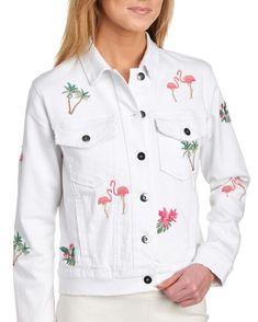 Flamingo & Palm Denim Jacket White
