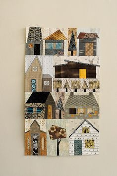 Paper pieced house #quilt in neutrals with bright accents. love it!