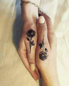 Black and White Rose Design Sister Tattoo Idea On Hands #Sistertattoo #Tattoos #Tattooideas #Rosetattoo #Sistertattooideas #Handtattoo