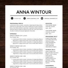 "★ Instant Download ★ Professional Resume CV Template Design for MS Word - ""The Wintour""  #shineresumes"