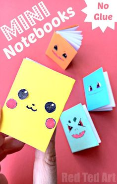 No Glue Paper Book - these DIY Mini Books are super easy to make. I love that this paper notebook craft has a colourful cover sheet and white pages on the inside. Giving you lots of options of how to decorate your no glue paper book craft! Origami Notebooks are so so so fun to make! Great for a Doll's craft too. Here we turned ours into Pokemon Notebook characters!