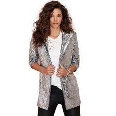 08505e4421768 Kadence Glitter Silver Sequin Blazer Sequin Coats