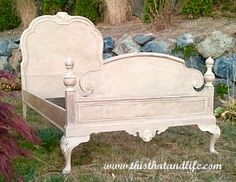 French bed painted with a custom mix of Antionette & Coco Annie Sloan Chalk Paint then accented with Old White. Clear and then dark wax went over the entire bed. ~ thisthatandlife.com