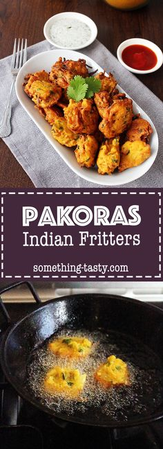 Pakoras – Indian Fritters. These crispy, golden potato and onion bites uses simple ingredients to serve as a delicious snack or appetizer. From Something Tasty Blog