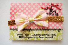 gold and pink headband bow headband headband photo by BBMCreations