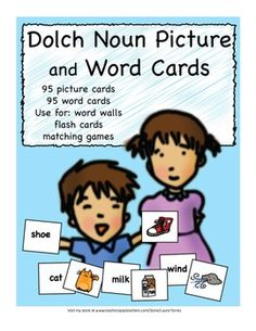 Dolch Noun Matching Picture and Word Cards
