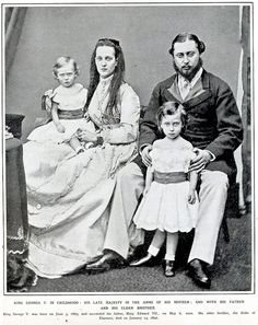Prince & Princess of Wales with young Prince Albert Victor, Duke of Clarence and Prince George, Duke of York (later King George V).