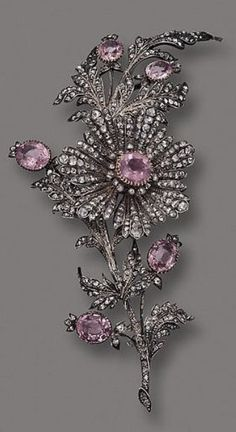Pink Topaz & Diamond Flower Brooch-c1890