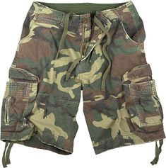 These Vintage Camo Infantry Utility Shorts are made with a rugged, heavyweight washed cotton fabric; the cargo shorts feature a french zipper fly, button waist, Army Shorts, Military Shorts, Guys Shorts, Picnic Outfits, Navy Shop, Camouflage Shorts, Woodland Camo, Army & Navy, Hunting Clothes