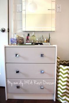 DIY IKEA Dresser.... two toned with drawer pulls!