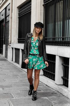 Green & flowers dress L'instantflo