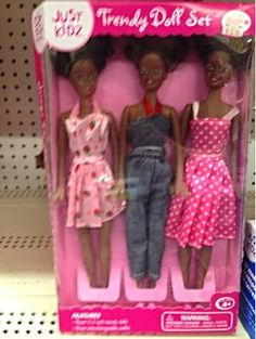 We are the Just Kidz Trendy Doll Set in African-American, sold for $5 at Kmart. Unlike the Caucasian version sold with the car, we appear to have calves.