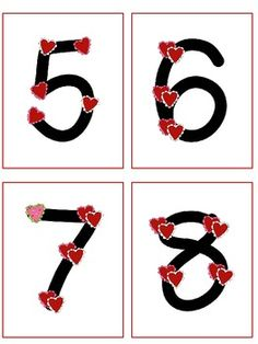 Free Point and Press number cards with hearts. Cute for Valentine's Day!