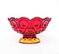 Moon and Star Patterned Amberina Compote Bowl by L. E. by OllyOxes