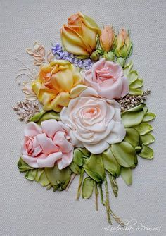 Wonderful Ribbon Embroidery Flowers by Hand Ideas. Enchanting Ribbon Embroidery Flowers by Hand Ideas. Embroidery Designs, Ribbon Embroidery Tutorial, Silk Ribbon Embroidery, Crewel Embroidery, Embroidery Patterns, Embroidery Thread, Embroidery Tattoo, Wedding Embroidery, Embroidery Bracelets