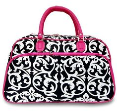 Sturdy! Hard Canvas Dome Pink Damask Duffle Bag Great for Sewing Bag, Travel or Sports