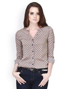 Buy FabAlley Brown Polka Dot Printed Shirt - 320 - Apparel for Women - 435324