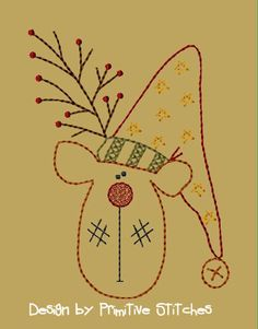 MACHINE EMBROIDERY-Rudy Reindeer 5x7-Instant Download-Introductory Priced 25% off until December 19th  http://www.Primitive-Stitches.com  Listed under Machine Designs 3