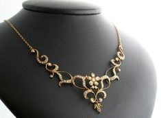 Victorian Necklace  Gold and Seed Pearl Antique by SITFineJewelry, $4500.00