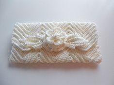 Bride or Bridesmaid Handmade White Crochet Clutch Purse Glass Pearls - Wedding Accessory. $30.00, via Etsy.