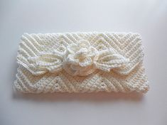 Bride or Bridesmaid Handmade White Crochet Clutch Purse Glass Pearls - Wedding Accessory. $30.00, via Etsy.