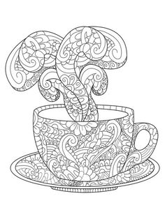 Zen art cup with hot steam. Zentangle style for the adult antistress coloring book on white background. Hand drawn zendoodle. Vector illustration. Adult coloring page teacup floral ornament.: