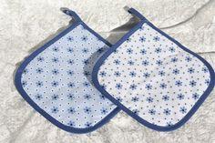 Kochutensilien - Topflappen blau weiß Küche Kochen Grillen Blümchen - ein…