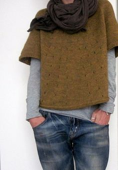 Short sleeved sweater over long sleeved Tshirt with scarf