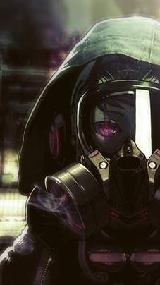 Anime gas mask girl.