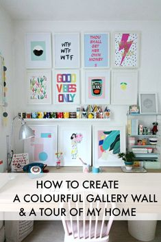 How to create colourful gallery walls with Etsy UK. I show you how to do a Spring refresh of the rooms at home on a limited budget. Study Room Decor, Teen Room Decor, Home Office Design, Office Decor, House Design, Workspace Inspiration, Inspiration Wall, Deco Studio, Vanity Room