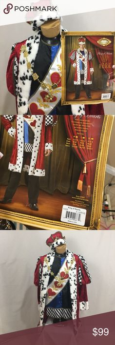 •MENS• King of Hearts costume -Alice in wonderland King of hearts costume-just add pants. Comes with Faux Fur trimmed coat, sleeveless tunic, sash, crown, medallion. Worn once for an indoor Halloween party. The attachments for the necklace are slightly damaged and made a small hole in the fabric on one side. Size XLARGE. According to chart fits- neck 17-17.5 chest -46-48 waist 40-42 sleeve 35-35.5. Ask for measurements if necessary no trades discounts on bundles of 2+  1000 items listed…